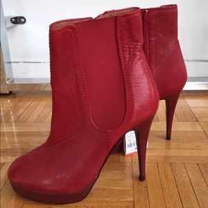 NEW $149 ZARA RED LEATHER PLATFORM ANKLE BOOTS 7.5